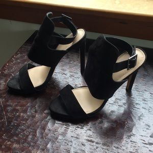 Zara Trafaluc Black Strap Peep Toe Heels